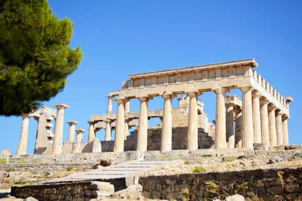 temple of Aphaia in Aegina island Greece stock photo