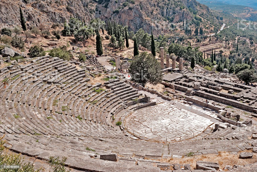 Temple of Apollo and the theater at Delphi oracle archaeological stock photo