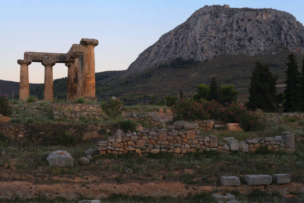 Temple of Apollo at Ancient Corinth, Peloponnese, Greece – zdjęcie