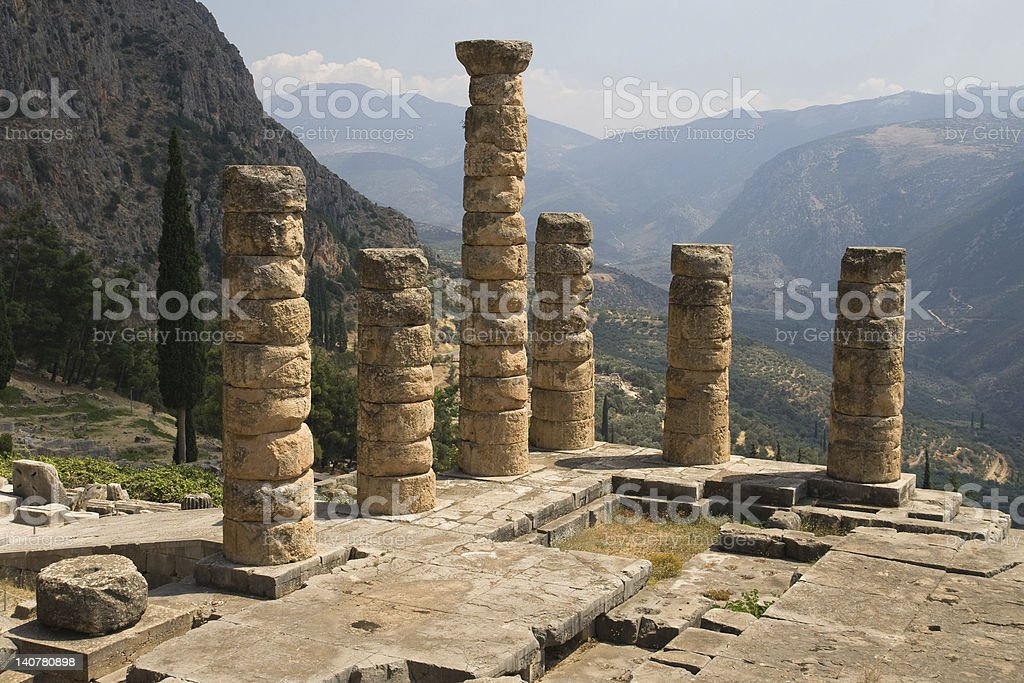 Temple of Apollo columns stock photo