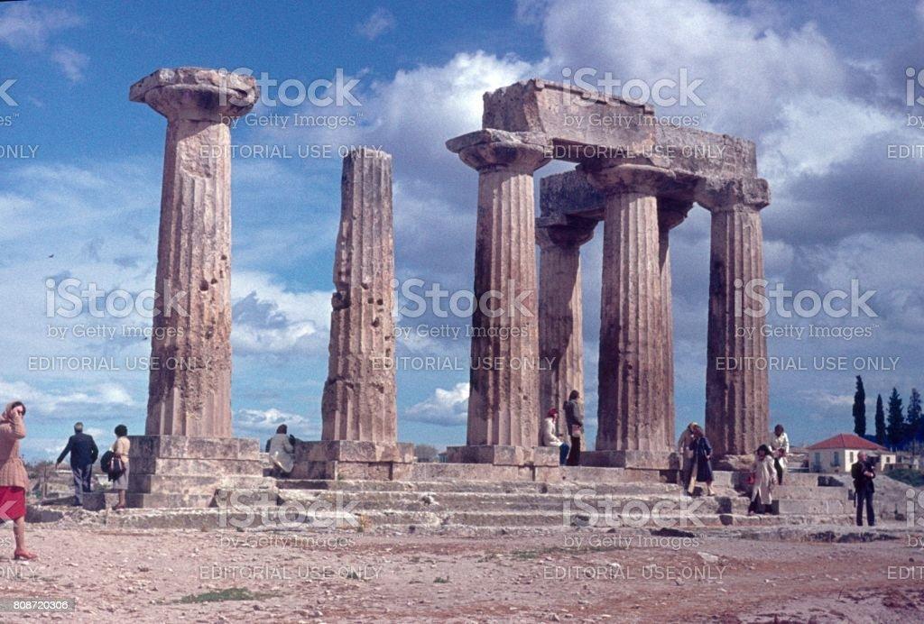 Temple of Apollo, Corinth, 1977 stock photo