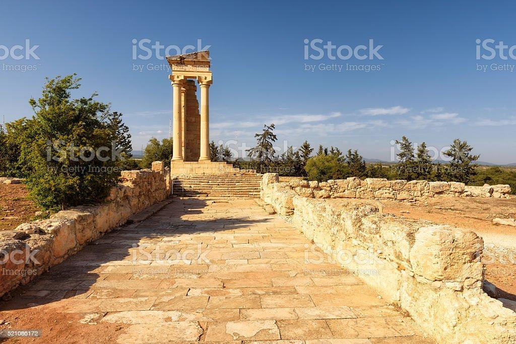 Temple of Apollo Hylates at sunset, Limassol, Cyprus stock photo