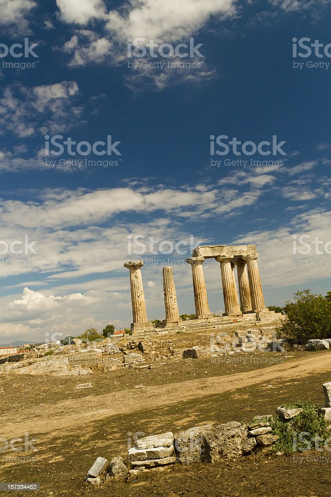 Temple of Apollo in Ancient Corinth Greece royalty-free stock photo