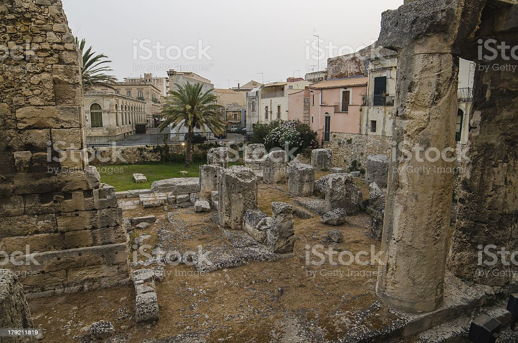 Temple of Apollo, in Syracuse, Sicily royalty-free stock photo