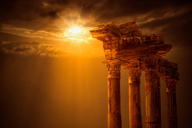 temple of apollo on sunset - roman stock photos and pictures