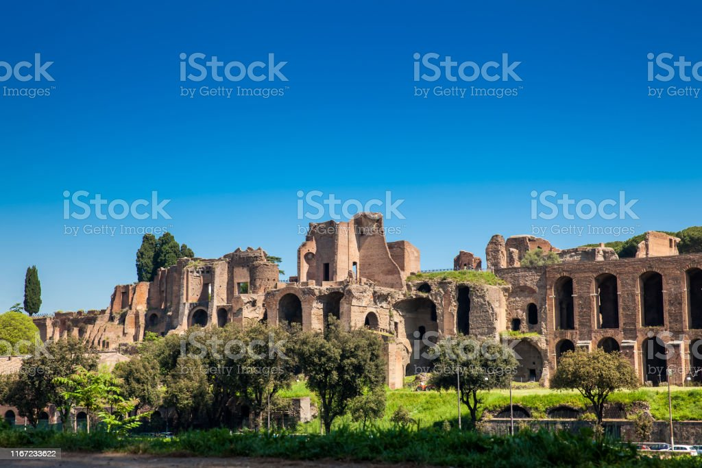 Temple of Apollo Palatinus on Palatine Hill of ancient Rome and...