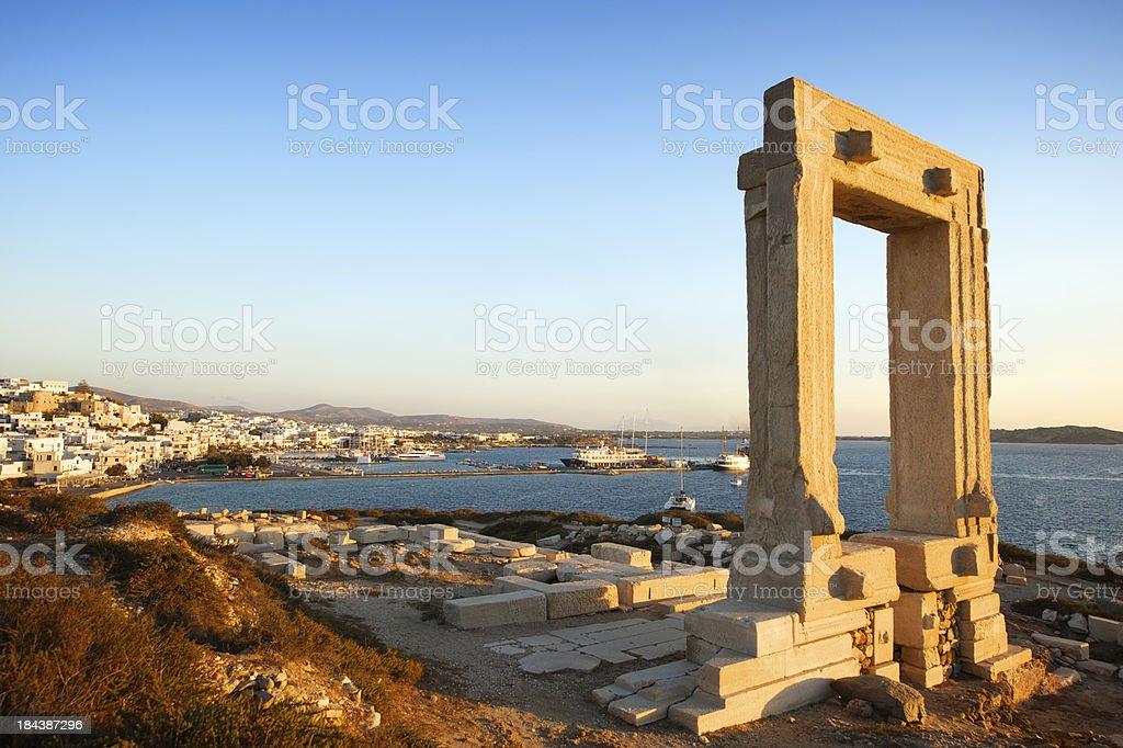 Temple of Apollo Portara Arch at Naxos Greece stock photo