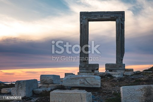 Temple of Apollo, Portara, at sunset (Naxos island, Greece).