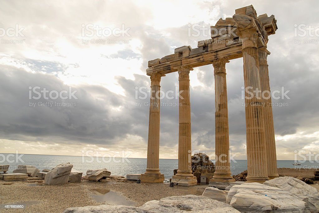 Temple of Apollo, Side, Anatalya stock photo
