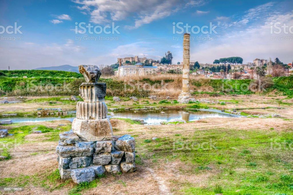 Temple of Artemis in Ephesus Ancient City stock photo