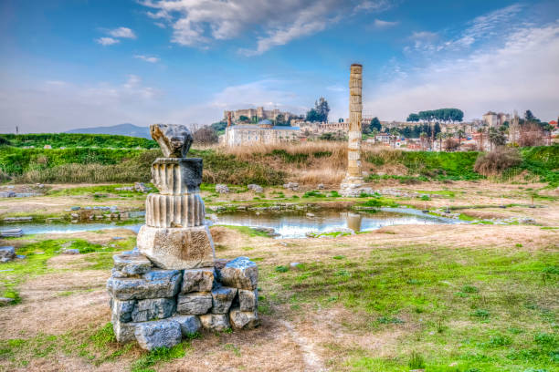 Temple of Artemis in Ephesus Ancient City Ephesus Ancient City is the most populer ancient site in Turkey artemis stock pictures, royalty-free photos & images