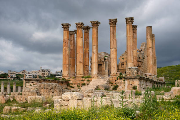 Temple of Artemis on a stormy day, Jerash, Jordan Temple of Artemis on a stormy day, Jerash, Jordan artemis stock pictures, royalty-free photos & images