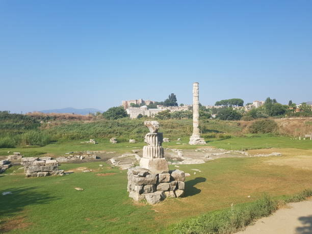 Temple of Artemis Located near Ephesus, this temple was once one of the Seven Wonders of the Ancient World. It was rebuilt twice after devastating floods to a magnificent final form around 1700 years ago. This is all that remains. artemis stock pictures, royalty-free photos & images