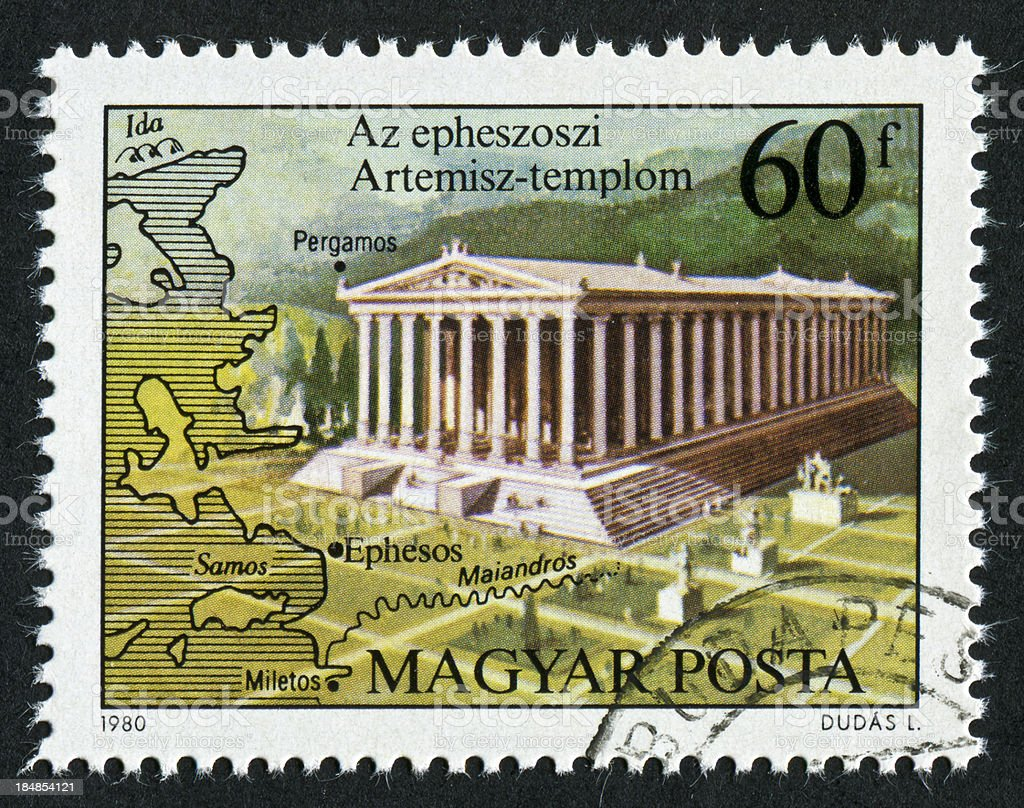 Temple Of Artemis Stamp royalty-free stock photo