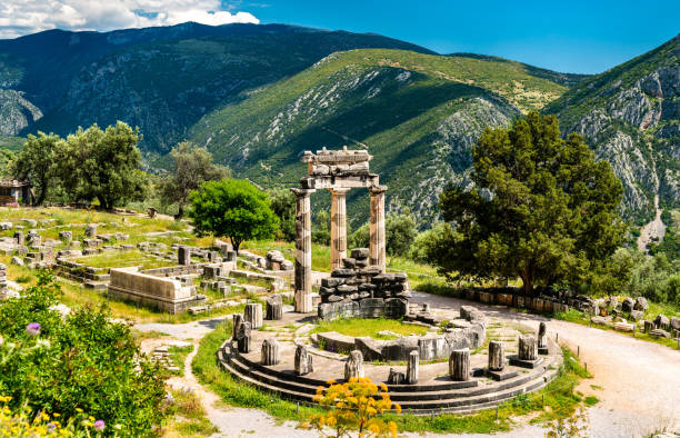 Temple of Athena Pronaia at Delphi in Greece stock photo