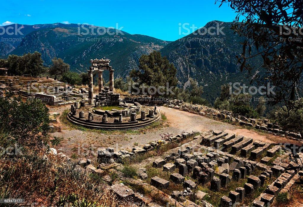 Temple of Athena Pronea in Delphi-Greece stock photo