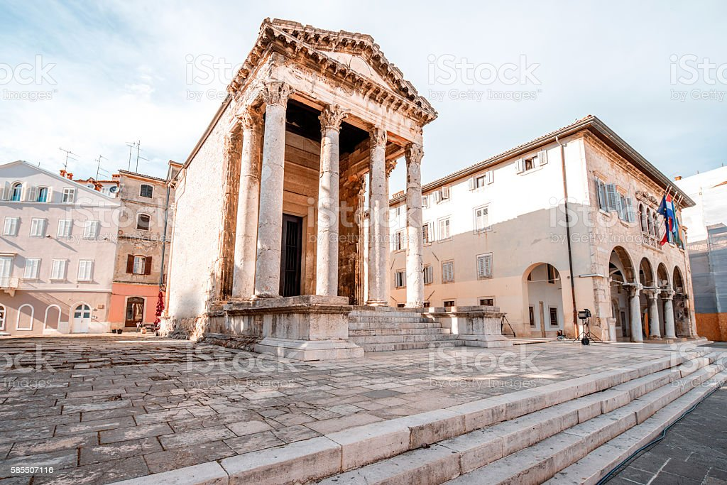 Temple of Augustus in Pula stock photo