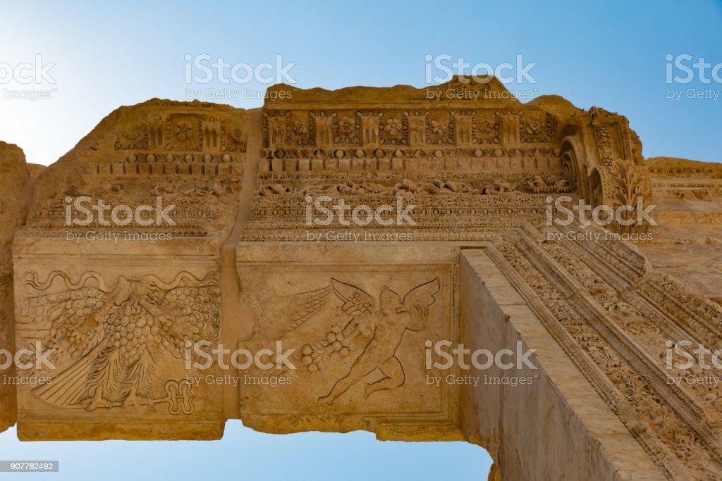 Temple of Bacchus romans ruins Baalbek Beeka Lebanon stock photo