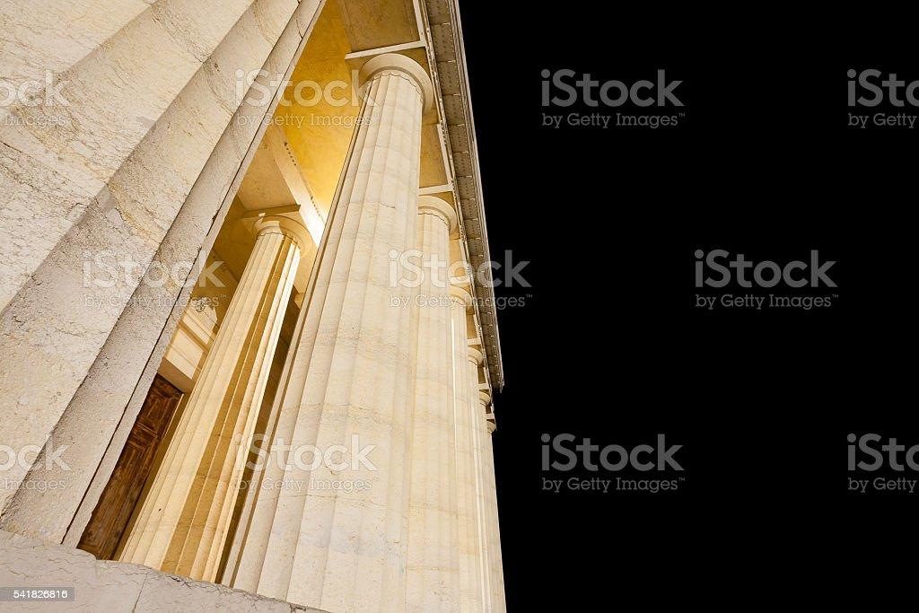 Temple of Canova night view. Roman columns stock photo