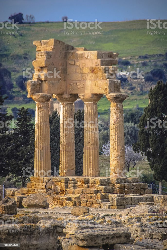 Temple of Castor and Pollux - Agrigento, Sicily royalty-free stock photo