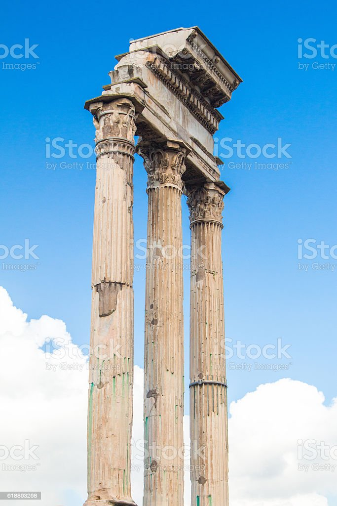 Temple of Castor and Pollux in Roman Forum, Italy stock photo