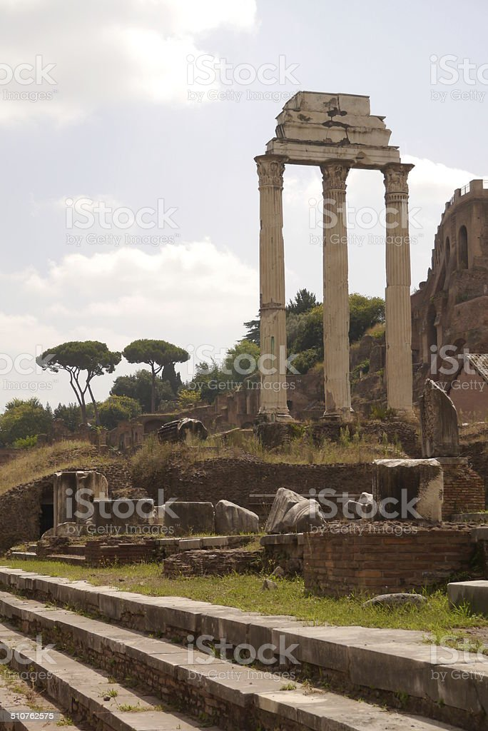Temple of Castor and Pollux in the Forum Romanum stock photo
