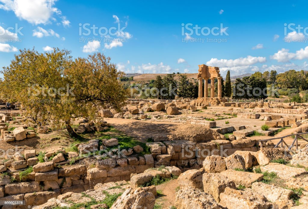 Temple of Castor and Pollux, located in the park of the Valley of the Temples stock photo
