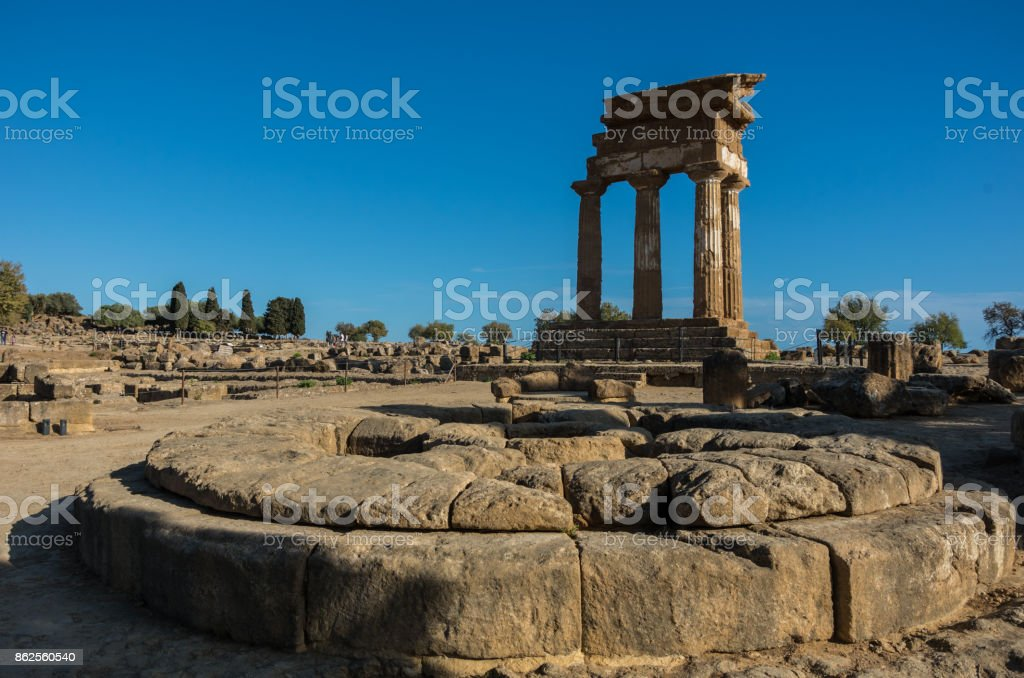 Temple of Castor and Pollux one of the greeks temple of Italy, Magna Graecia. The ruins are the symbol of Agrigento city. Sicily. Itally stock photo