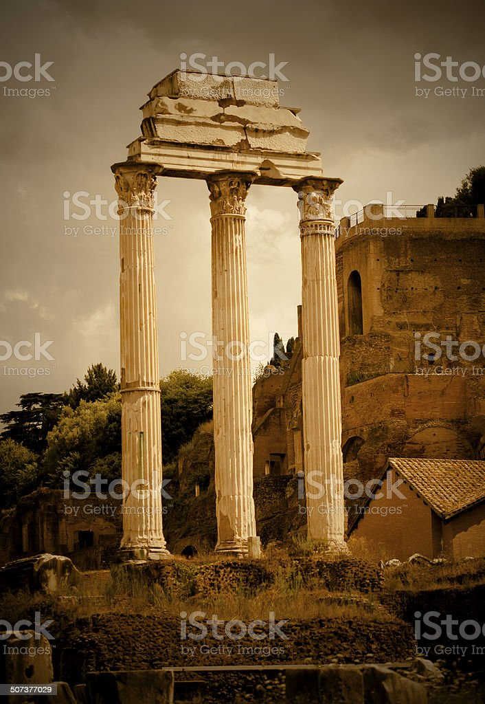 Temple of Castor and Pollux stock photo