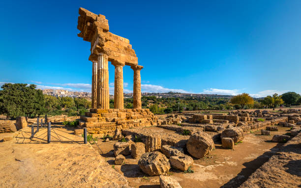 Temple of Castor and Pollux, Valley Of The Temples stock photo