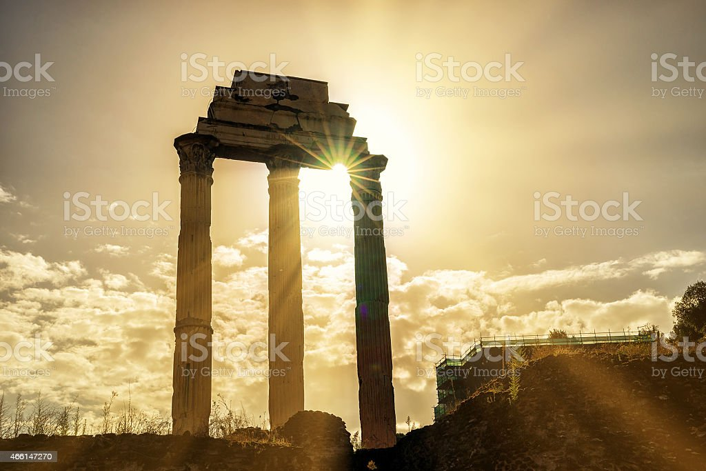 Temple of Castor & Pollux at Roman Forum in Rome stock photo