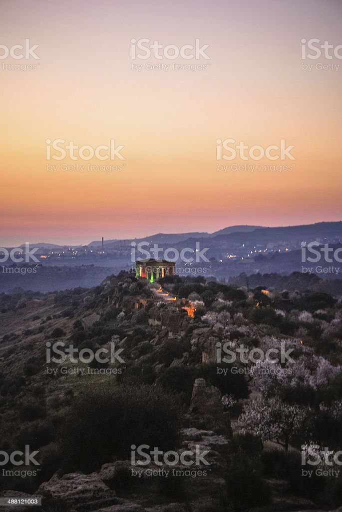 Temple of Concord Illuminated royalty-free stock photo