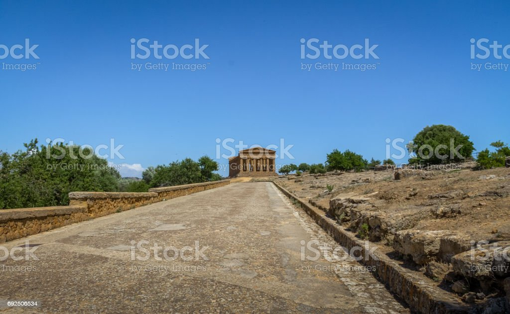 Temple of Concordia in the Valley of Temples - Agrigento, Sicily, Italy stock photo