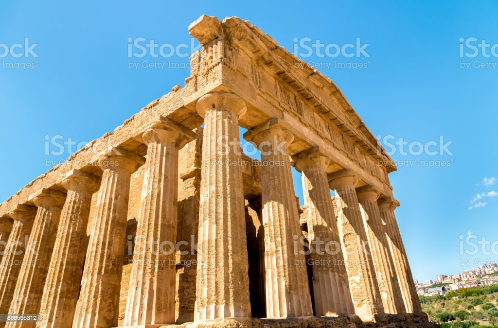 Temple of Concordia, located in the park of the Valley of the Temples stock photo
