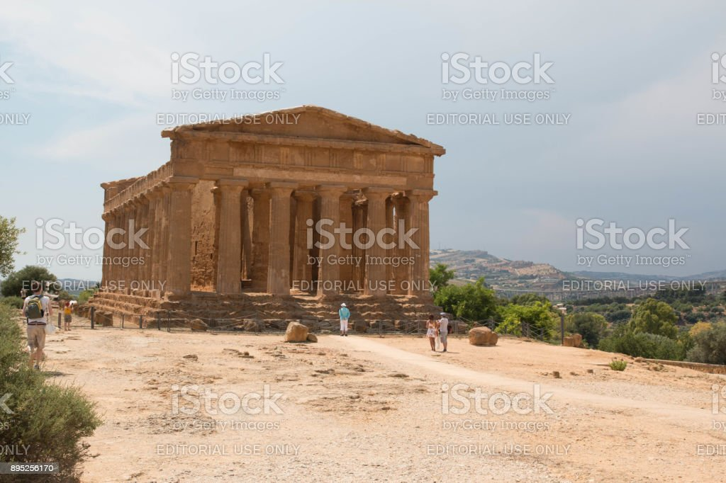 Temple of Concordia, Temples Valley, Agrigento, Sicily. stock photo