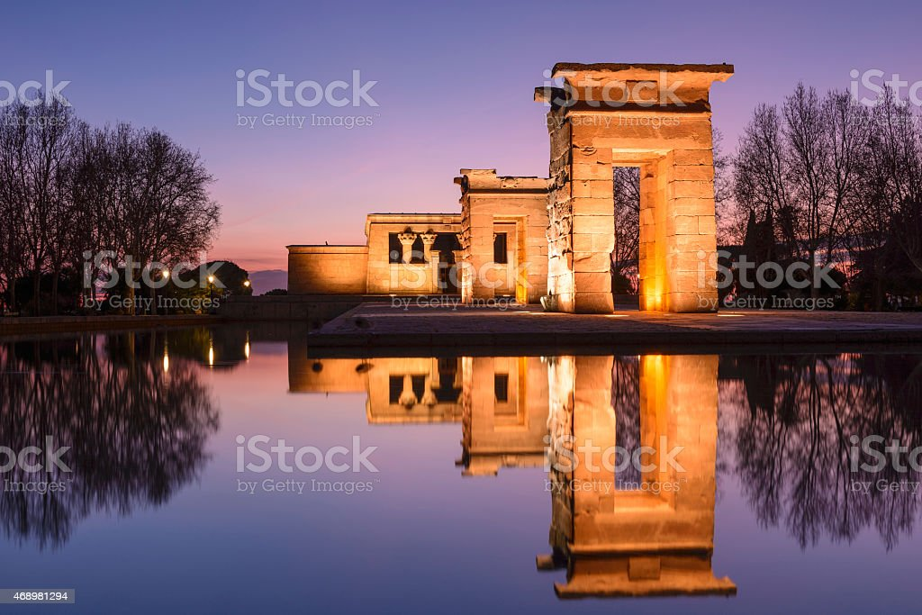 Temple of Debod at night, Madrid (Spain) stock photo