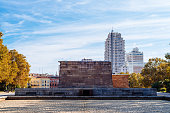 Madrid, Spain - October 18, 2020: Temple of Debod a beautiful Autumn day. A famous landmark in the city of Madrid