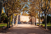 Temple of Debod in Autumn time. A famous landmark in the city of Madrid