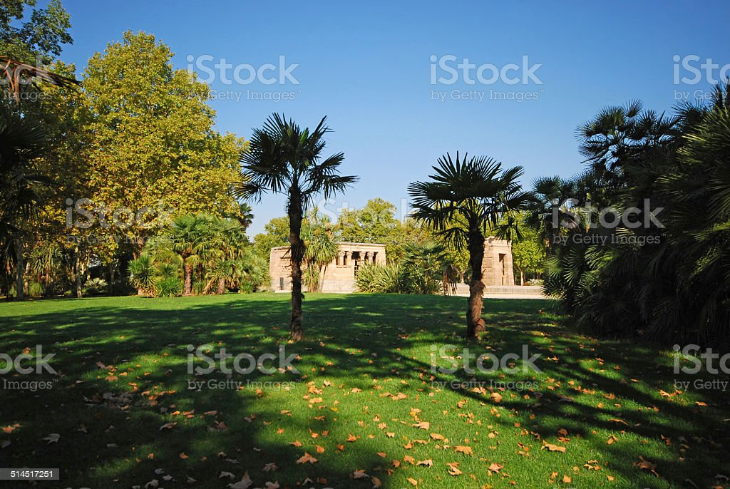 Temple of Debod in the city of madrid stock photo