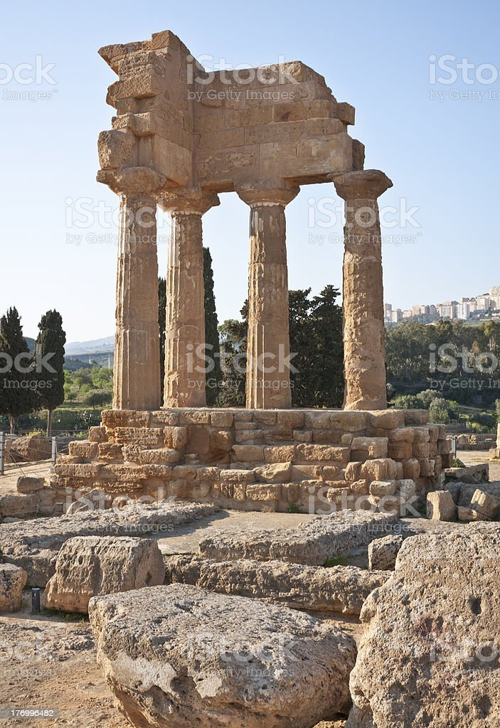Temple of Dioscuri in Agrigento stock photo
