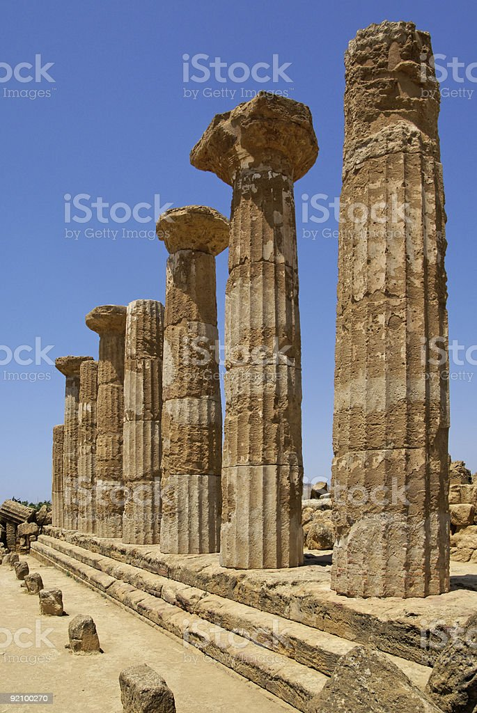 Temple of Ercole in Agrigento stock photo