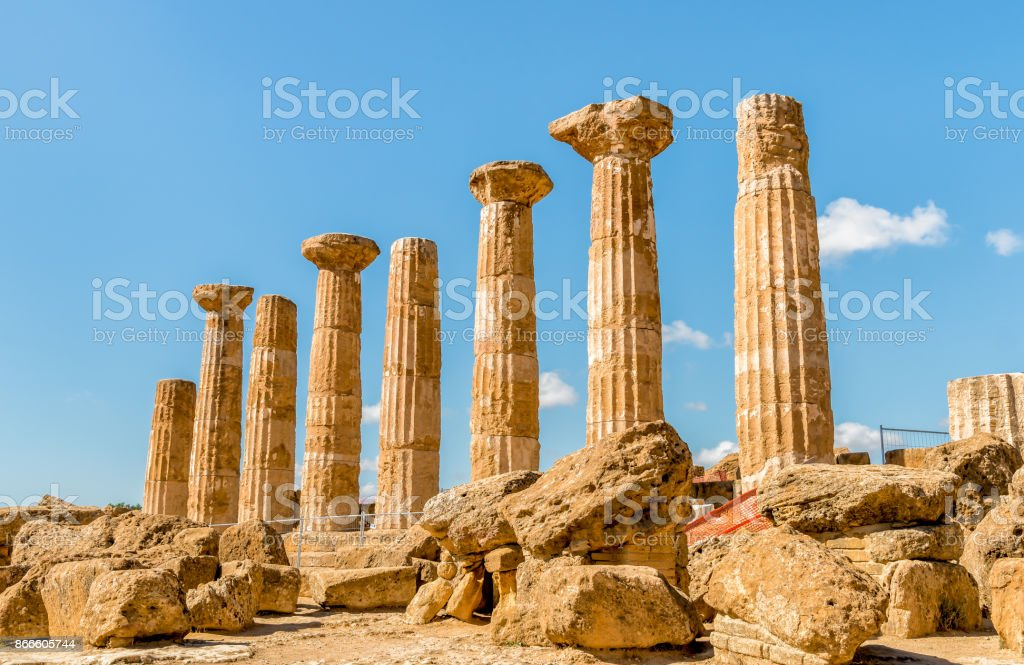 Temple of Ercole, located in the park of the Valley of the Temples stock photo