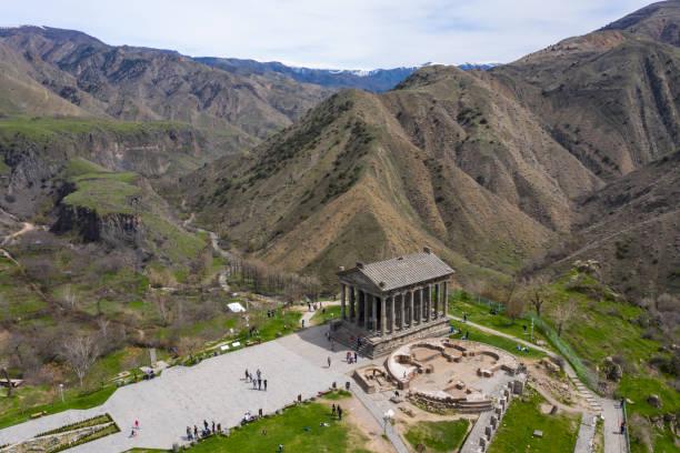 Temple of Garni in Armenia stock photo