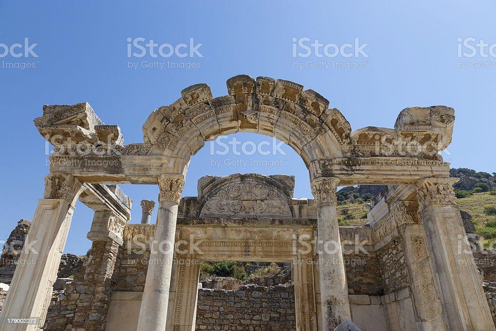 Temple of Hadrian, Ephesus, Turkey royalty-free stock photo