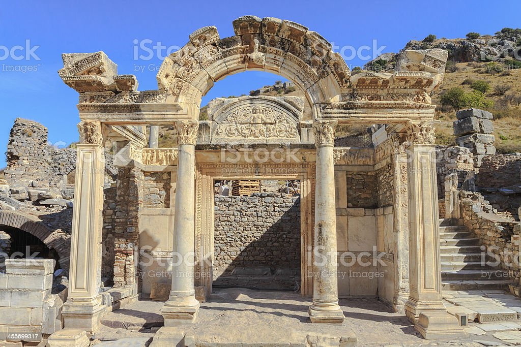 Temple of hadrian in ephesus stock photo