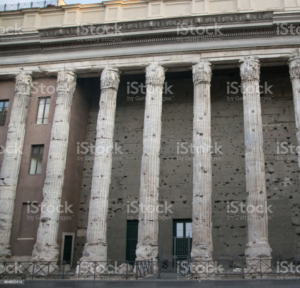 Temple of Hadrian in Rome, Italy stock photo