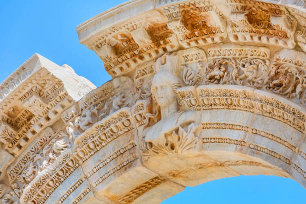 Temple of hadrian ruins in Ephesus, Turkey stock photo