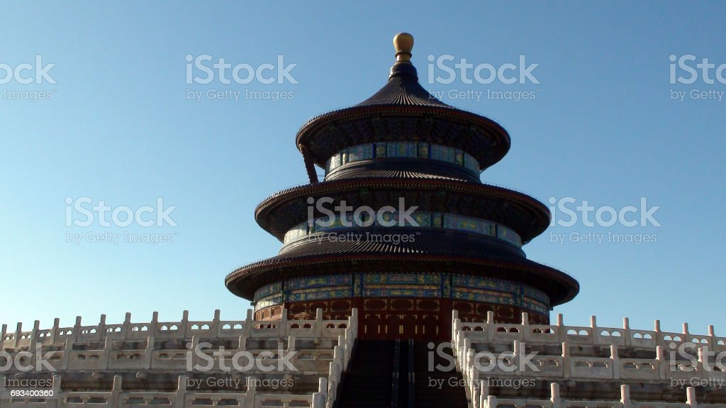 Temple Of Heaven Building Exterior Against Blue Sky Scene In Beijing China stock photo