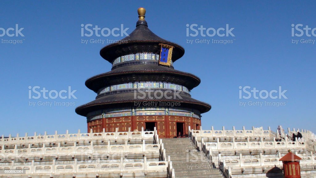 Temple Of Heaven Building Exterior Against Blue Sky Scenery In Beijing.China.Asia stock photo