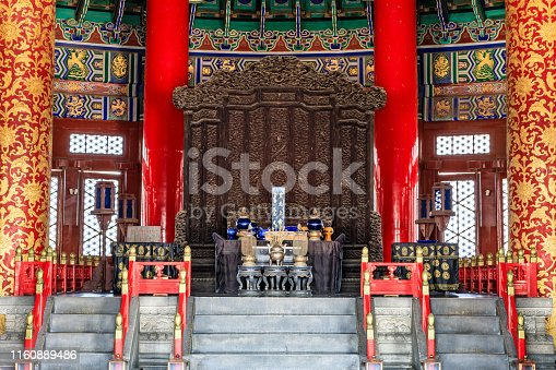 Temple of Heaven, the landmark of beijing, china. the chinese characters mean